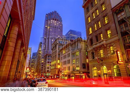 San Francisco, California, United States - August 15, 2019: San Francisco Downtown By Night. Light T