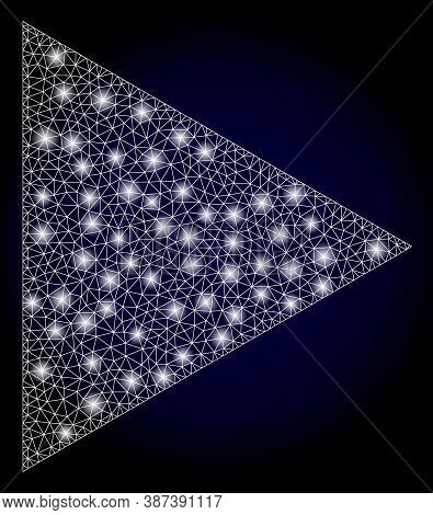 Glare Mesh Network Play Function With Light Spots. Illuminated Vector Constellation Created From Pla