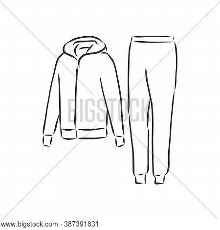 Tracksuit Vector Sketch Illustration, Tracksuit Vector Sport Fashion Garment Man
