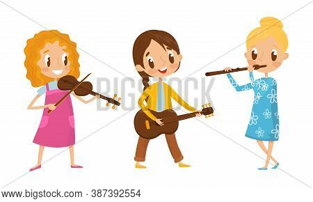 Little Girl Characters Playing Flute And Guitar Vector Illustration Set