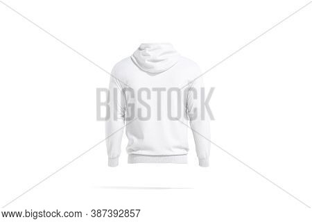 Blank White Sport Hoodie With Hood Mockup, Back View, 3d Rendering. Empty Sport Or Casual Clothing W