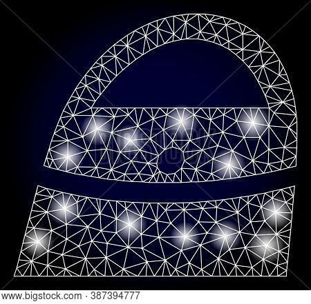 Glowing Mesh Polygonal Shopping Bag With Glowing Spots. Illuminated Vector Constellation Created Fro