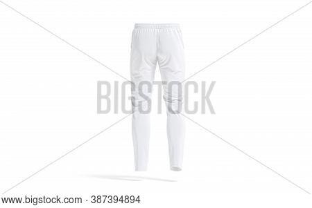 Blank White Sport Pants Mockup, Back View, 3d Rendering. Empty Fleece Trakky Or Slacks For Fitness M