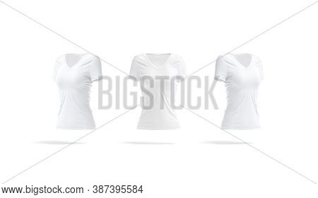 Blank White Women Slimfit T-shirt Mockup, Front And Side View, 3d Rendering. Empty Female Clothing F