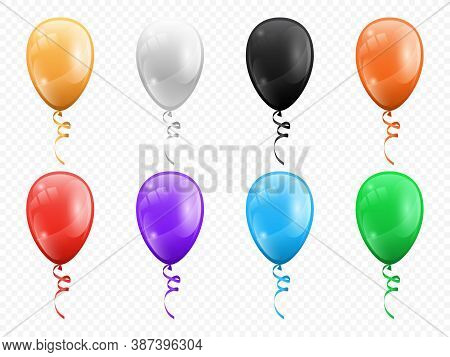 Balloons In Shape Of Circles Isolated Set. Vector Birthday Party Decoration, Helium Air Balls On Cur