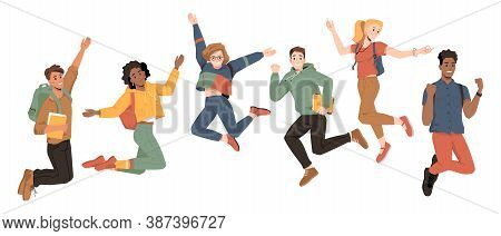 Multicultural Students Jumping, Happiness Success, Happy Young People, Vector Flat Cartoon. Universi
