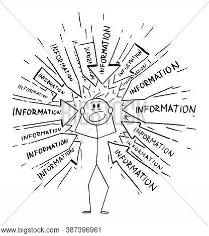 Vector Cartoon Stick Figure Drawing Conceptual Illustration Of Stressed Man Or Businessman Overloade