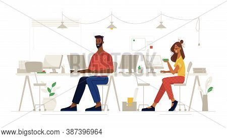 Office Social Distance, Work And Workplace Safety, Vector Flat. Colleagues People Sitting Through On