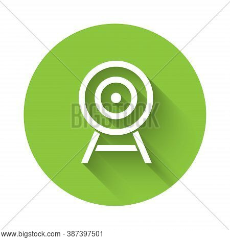 White Target With Arrow Icon Isolated With Long Shadow. Dart Board Sign. Archery Board Icon. Dartboa