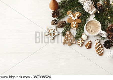 Happy Holidays Greeting Card. Christmas Flat Lay With Gingerbread Cookies, Coffee, Pine Cones And Fi