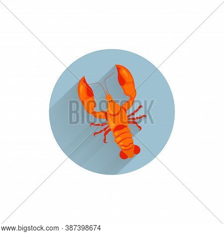 Crayfish Colorful Flat Icon With Long Shadow. Crayfish Seafood Flat Icon