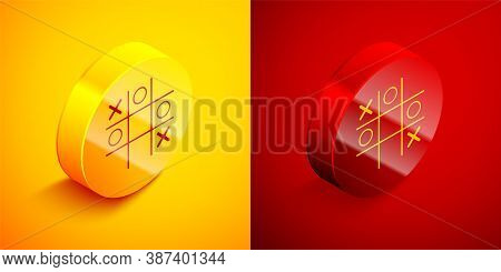 Isometric Tic Tac Toe Game Icon Isolated On Orange And Red Background. Circle Button. Vector