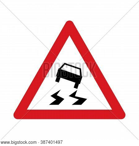 Traffic Sign Warning For A Slippery Road Surface. Traffic Sign Isolated On White Background. Vector
