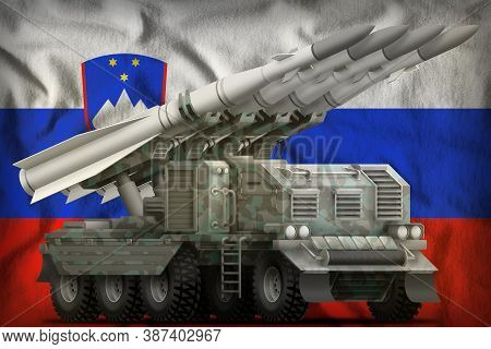 Tactical Short Range Ballistic Missile With Arctic Camouflage On The Slovenia Flag Background. 3d Il