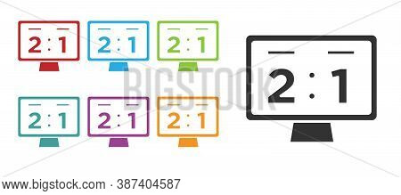 Black Sport Mechanical Scoreboard And Result Display Icon Isolated On White Background. Set Icons Co