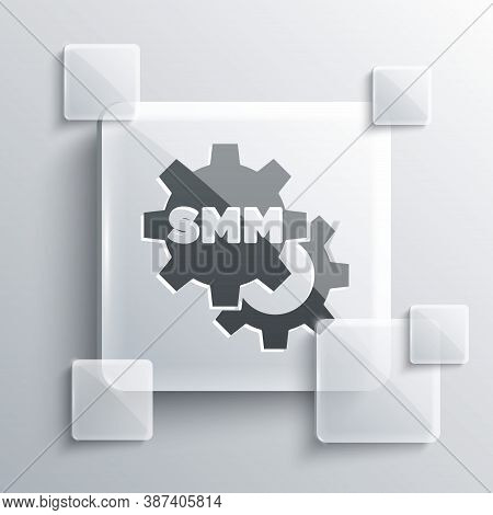 Grey Smm Icon Isolated On Grey Background. Social Media Marketing, Analysis, Advertising Strategy De