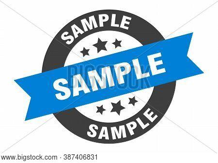 Sample Sign. Sample Blue-black Round Ribbon Sticker
