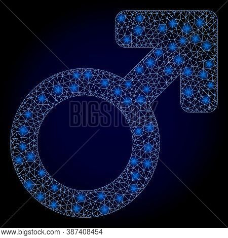Shiny Mesh Polygonal Male Symbol With Light Spots. Illuminated Vector Model Created From Male Symbol