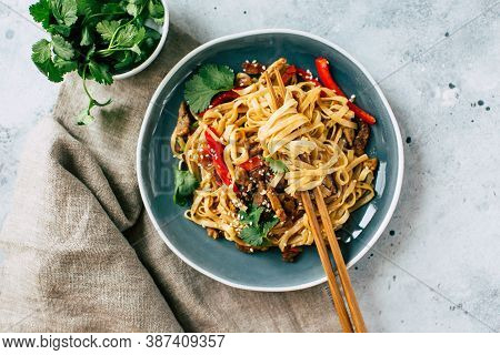 Asian Cuisine. Udon Noodles With Vegetables In A Ceramic Plate