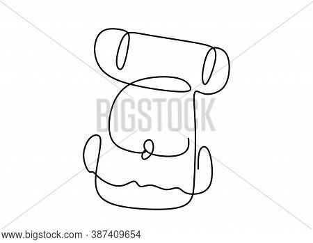 Continuous One Line Drawing Of A Bag Pack Rucksack
