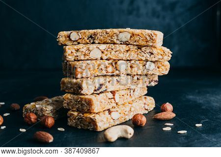 Cereal Bars With Nuts And Dried Berries. Snacks