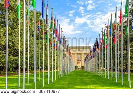 Geneva, Switzerland - Aug 16, 2020: Row Of Flags At Entrance Of United Nations Offices Or Palais Des