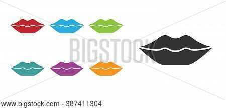 Black Smiling Lips Icon Isolated On White Background. Smile Symbol. Set Icons Colorful. Vector