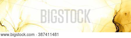 Modern Illustration. Gold White Colorful Swirl. Gold White Modern Illustration. Alcohol Ink Composit