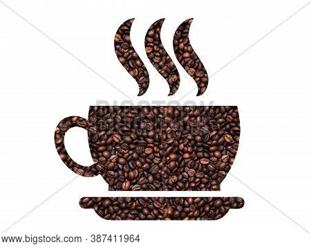 Silhouette Of Coffee Cup. A Cup Of Hot Coffee With A Grain Of Coffee Texture.