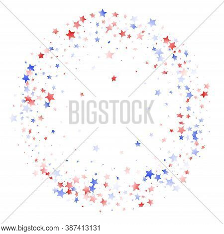 American Patriot Day Stars Background. Holiday Confetti In Usa Flag Colors For Presidents Day. Festi