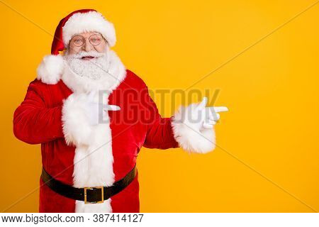 Photo Jolly Holly Fairy Bearded Santa Claus Point Index Finger Copyspace Indicate X-mas Noel Christm