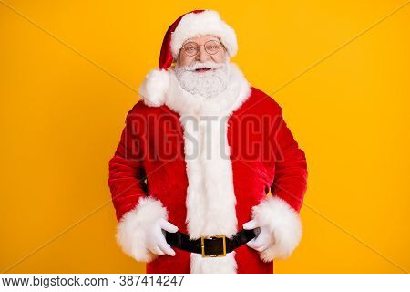 Photo Of Positive Excited Santa Claus Enjoy Fairy Jolly Holly X-mas Christmas Celebration Party Wear