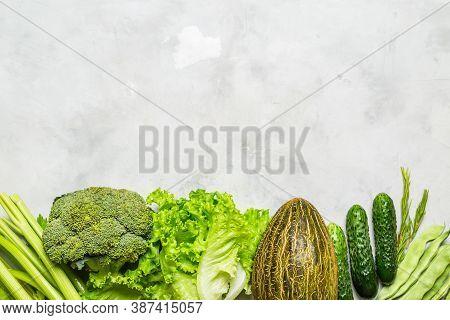 Fresh Vegetables On A Gray Background. Kitchen Background