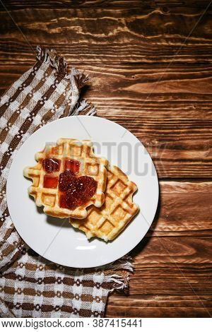 Belgian Waffles, Dessert Food With Jam Over Head View