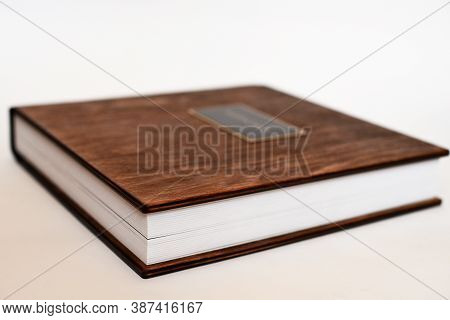 Big Book With Wooden Cover Of Photo Album, Small Depth Of Field.
