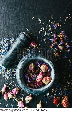 Preparation Of Medicinal Herbs. Dry Flowers For Tea
