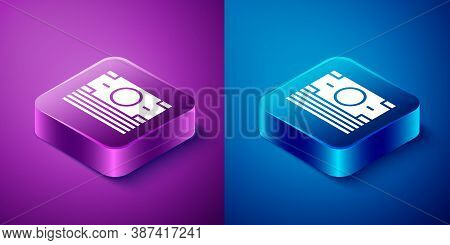 Isometric Stacks Paper Money Cash Icon Isolated On Blue And Purple Background. Money Banknotes Stack