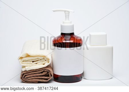 Flacon And Bottles Cosmetic Cream Jar On White Background