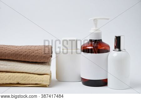 Mockup Cosmetic Flacon, Bottle And Napkin, Studio Shot On White Background