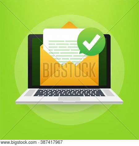 Opened Envelope And Document With Green Check Mark. Verification Email. Vector Illustration.