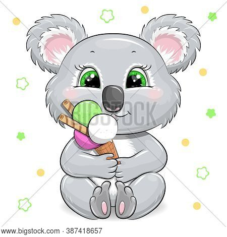 Cute Cartoon Baby Koala With Sweet Ice Cream. Vector Illustration Of Animal Isolated On White.