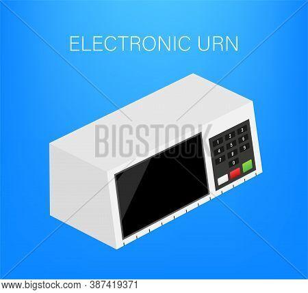 Electoral Urn. Translations Fim Means End, Urna Urn, Eleitoral Electoral. Vector Stock Illustration.