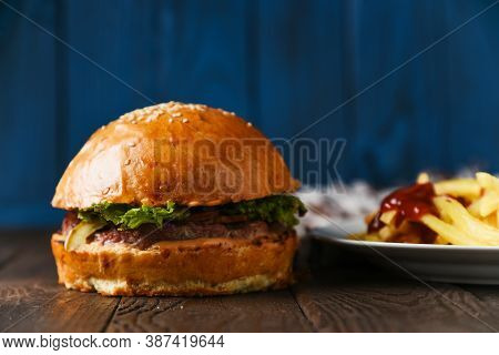 American Fast Food Hamburger Beef On Wood Table