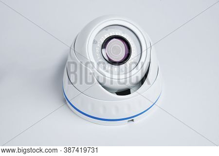 Cctv Camera, Property Protection. White Round Camera Surveillance On A White Background.