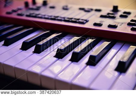 Electronic Music Piano Keyboard Close Up View
