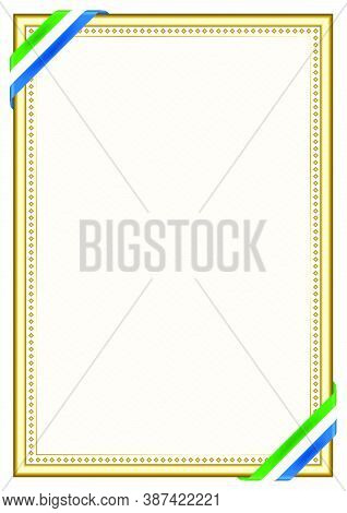 Vertical  Frame And Border With Sierra Leone Flag, Template Elements For Your Certificate And Diplom