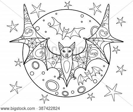 Bats On The Background Of The Moon - Coloring Antistress - Vector Linear Picture For Coloring. Three