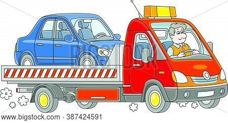 Funny Driver In A Breakdown Truck Carrying A Broken Car To A Service Center, Vector Cartoon Illustra