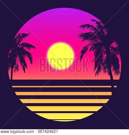 Retro 80s Style Tropical Sunset With Palm Tree Silhouette And Gradient Sky Background. Classic 80s R
