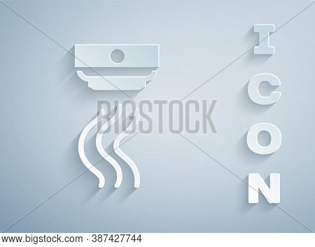 Paper Cut Smoke Alarm System Icon Isolated On Grey Background. Smoke Detector. Paper Art Style. Vect